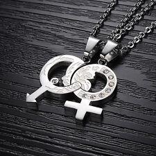 2 Edelstahl Puzzle Anhänger Ketten Partner Freundschaft Silber Cubic Zirkonia