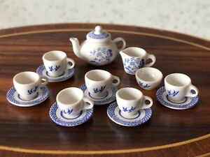 Dolls house miniature 1:12 ARTISAN Willow tea set by AVON MINIATURES