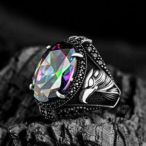 Solid 925 Sterling Silver Eagle Design Mystic Topaz Stone Men's Ring