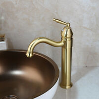 Brushed Gold Single Handle Faucet Bathroom Vessel Sink Basin Mixer Brass Tap