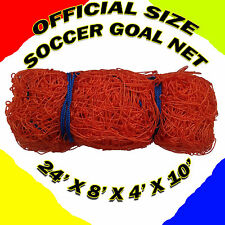 TWO Orange OFFICIAL SIZE 24' x 8' x 4' x 10' SOCCER GOAL NETS NETTING