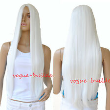 70 cm 28 inch High-Heat Resistent Long White Straight Cosplay Party Hair Wig