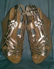NEW JUICY COUTURE $250 WHITE GOLD PLATINUM CORK PLATFORM WEDGES SHOES 41 9.5 10