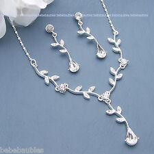 FOUR NECKLACE SETS Brodal Wedding Bridesmaid Gift Prom Crystal Silver Sp #74