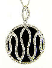 14k White Gold original Black Onyx Diamond pendant Circle