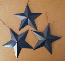 "3 AMERICANa  country  BLUE primitive  5.5"" Tin Metal Barn Star home decor Sign"