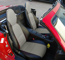 MAZDA MIATA 2001-2005 BLACK/GRAY S.LEATHER CUSTOM MADE FIT FRONT SEAT COVER