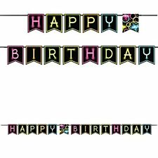 """Glow under Black Light Party Birthday Banner with Neon """"Happy Birthday"""" Letters"""