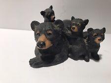 Mama & 3 Cubs Black Bear Resin Figurine Life Like