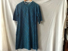 vintage maternity dress handmade high neck blue on blue plaid w/ pockets cotton!