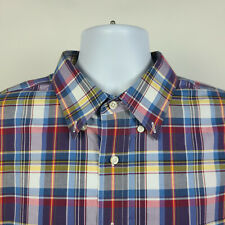 Jos A Bank Traveler Blue Red Yellow Plaid Check Mens Dress Button Shirt Size XL