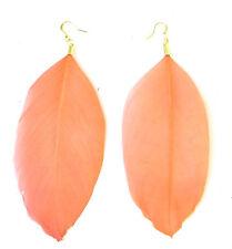 Long Corail Orange Plume Dorée Boucles D'oreilles Goutte Grosse Crochet Bohémien