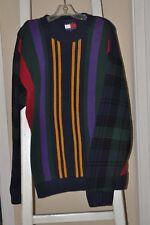 Vtg Rare Tommy Hilfiger Knit Sweater Bold stripes black watch plaid colorblock L
