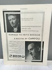 Campoli violin - Decca Records Advertisement 1955 Homage To Fritz Kreisler