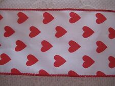 """$1.50/Yard Red Valentine Hearts 2 1/2"""" Wired Ribbon by the Yard"""