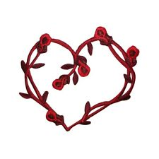 ID 3213 Red Roses Heart Patch Valentine's Day Flower Embroidered IronOn Applique