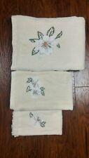 Embroidered Magnolia Cream Bath Towel 3 Piece Set