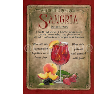 Sangria   Cocktail Authentic Recipe Metal Sign 3 Sizes To Choose From