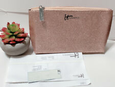 It Cosmetics Gold Glitter Makeup Bag Zippered Cosmetics Case new Pouch