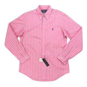 Ralph Lauren Mens Size Med Classic Fit Dress Shirt Pink Stripe Button L/S Poplin