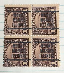 BLOCK OF 4 US PRECANCEL 1 DOLLAR LINCOLN MEMORIAL MOUNT MORRIS ILL (14A9)