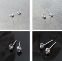 Solid 925 Sterling Silver Cute Small Little Knot Stud Earrings Gift Pouch