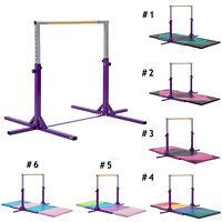 Gymnastics Bar with Gym Mat Adjustable Horizontal Training Bar Kids Sports Home