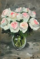 Print of Original oil painting art flowers pink roses impressionism shabby chic
