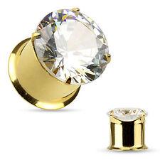 PAIR Large CZ Gem Double Flare Tunnels Ear Plug Gauges - Gold, Steel or Black