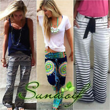 Women Boho Yoga Sports Pants Floral Ladies Casual Loose Trousers Palazzo Stripe