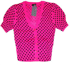 H&M Summer Cardigan Ladies 12 Hot Pink & Black Spotty 1960's Lush Retro Top