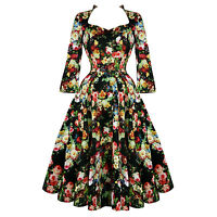 Hearts & Roses London Antique Rose Floral Chintz Retro 1950s Flared Tea Dress UK