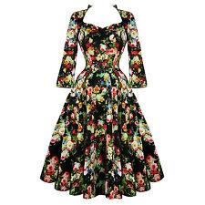 Hearts & Roses London Antique Rose Floral Chintz Retro 1950s Flared Tea Dress UK