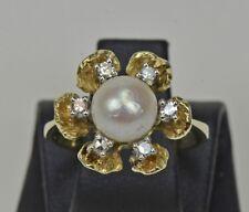 ANILLO DE PERLAS 14kt. ORO BRILLANTE diamantes antigua mujer nr.606