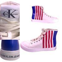 Calvin Klein Jeans Doran High Top Sneakers In Red White Blue 34S0575 Men's 10