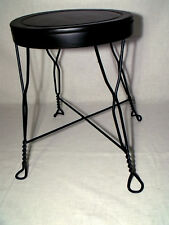 Antique Black Metal Stool with Twisted Wire Legs (Owner Refurbished)