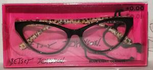 Betsey Johnson Blue Light Blocking Reading Glasses Black LEOPARD PRINT 0.00+ NIB