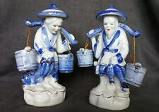 CHINESE MAN WOMAN Figurines BLUE WHITE Ceramic CARRYING BUCKETS & HOLDING FISH