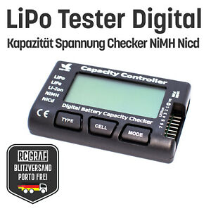 LiPo Tester Digital LiFe Li-Ion NiMH NiCd Spannung Kapazität Batterie NEU