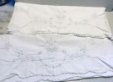 Vintage Pillowcases Pair Of White With Embroidered Flower 20/32