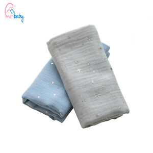 New Blue Grey Silver Stars Double Gauze Muslin Cloth Swaddle Blanket Cover Gift