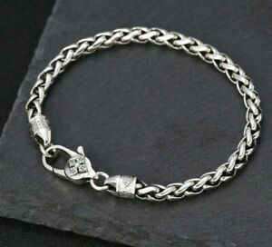 925 Sterling Silver Hallmarked Mens 5mm Wheat link Bracelet 20 21 cm