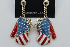 Women Gold Metal USA Flag Pumps Platforms Shoes Earrings Fashion Jewelry States