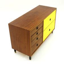 Piccola Credenza con superfici in formica gialla e teak anni '60