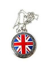British Flag Design Pocket Watch Necklace Antique Finish Extra Battery