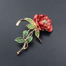 Fashion Red Rose Flower Rhinestone Cute Women Bridal Wedding Party Brooch Pin