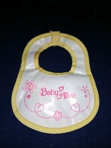 Hasbro Baby Alive Bib Yellow Trim With Pink Design