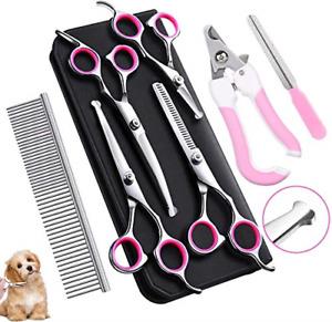 Tebrun Pet Grooming Scissors Set, 7 Pieces Professional Stainless Steel Pet Kit
