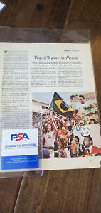 1975 PELE SIGNED SPORTS ILLUSTRATED PHOTO BRAZIL SANTOS COSMOS WORLD CUP PSA DNA