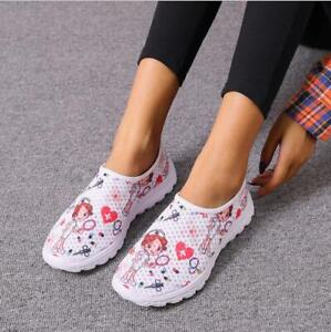 Cartoon Nurse Doctor Print Women Walking Sneakers Lightweight Breathable Shoes